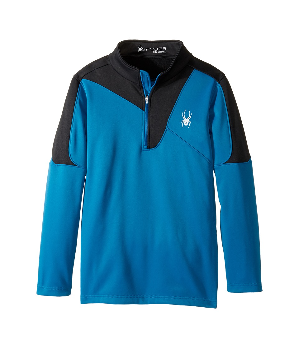 Spyder Kids - Charger Therma Stretch T-Neck (Little Kids/Big Kids) (Concept Blue/Black) Boy's Long Sleeve Pullover