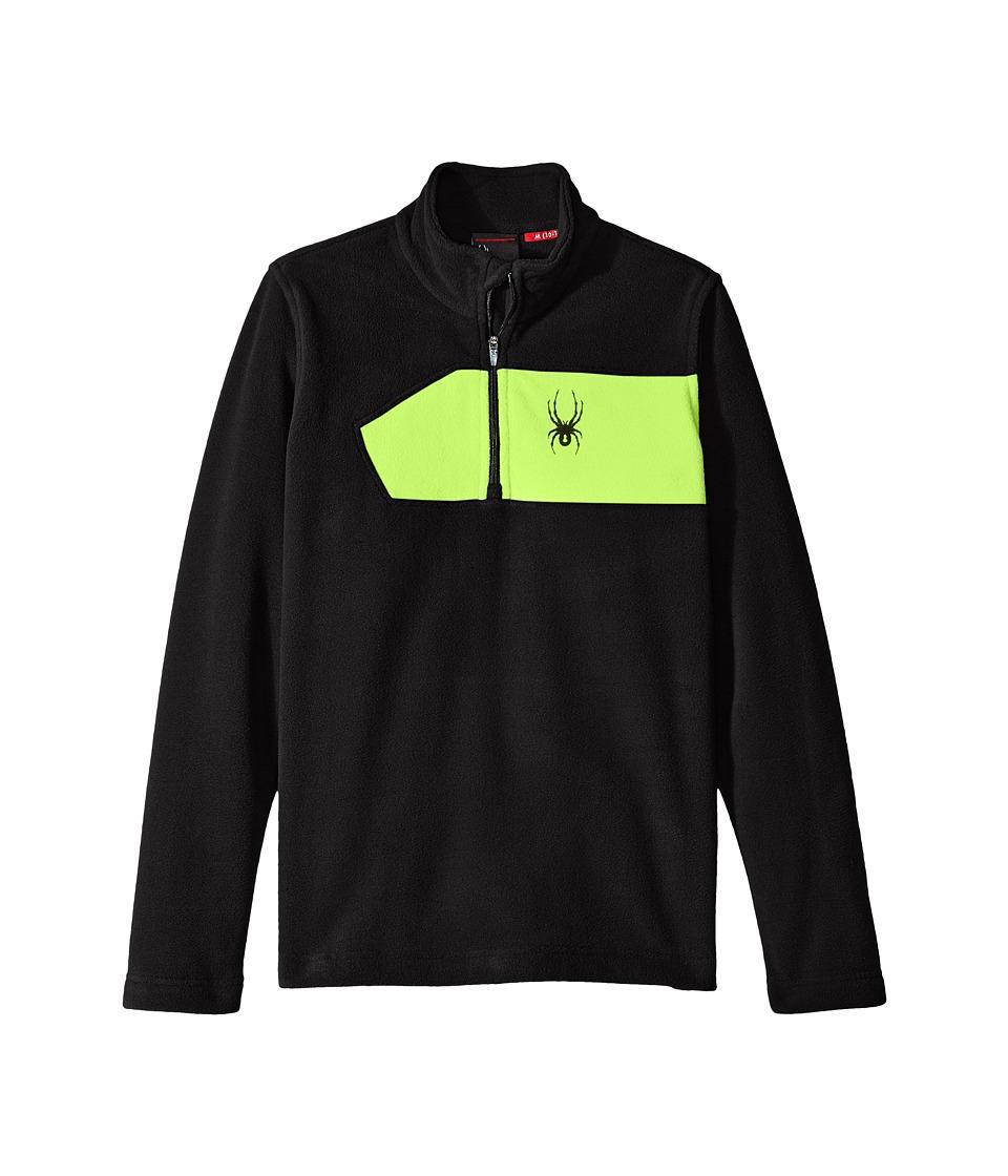 Spyder Kids - Speed Fleece Top (Little Kids/Big Kids) (Black/Bryte Green) Boy's Long Sleeve Pullover