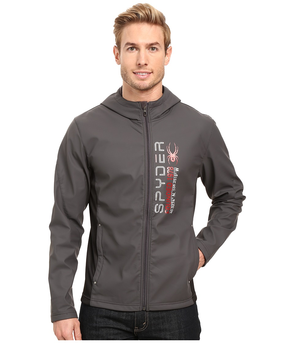 Spyder - Delta Full Zip Hoodie (Polar/Black/Red) Men's Fleece