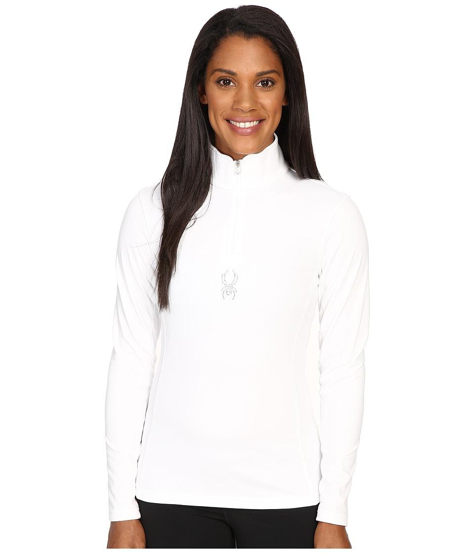 Spyder - Shimmer Bug Velour Fleece T-Neck Top (White) Women's Long Sleeve Pullover