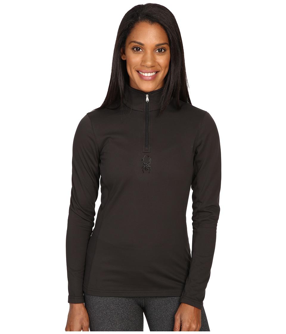 Spyder - Shimmer Bug Velour Fleece T-Neck Top (Black) Women's Long Sleeve Pullover