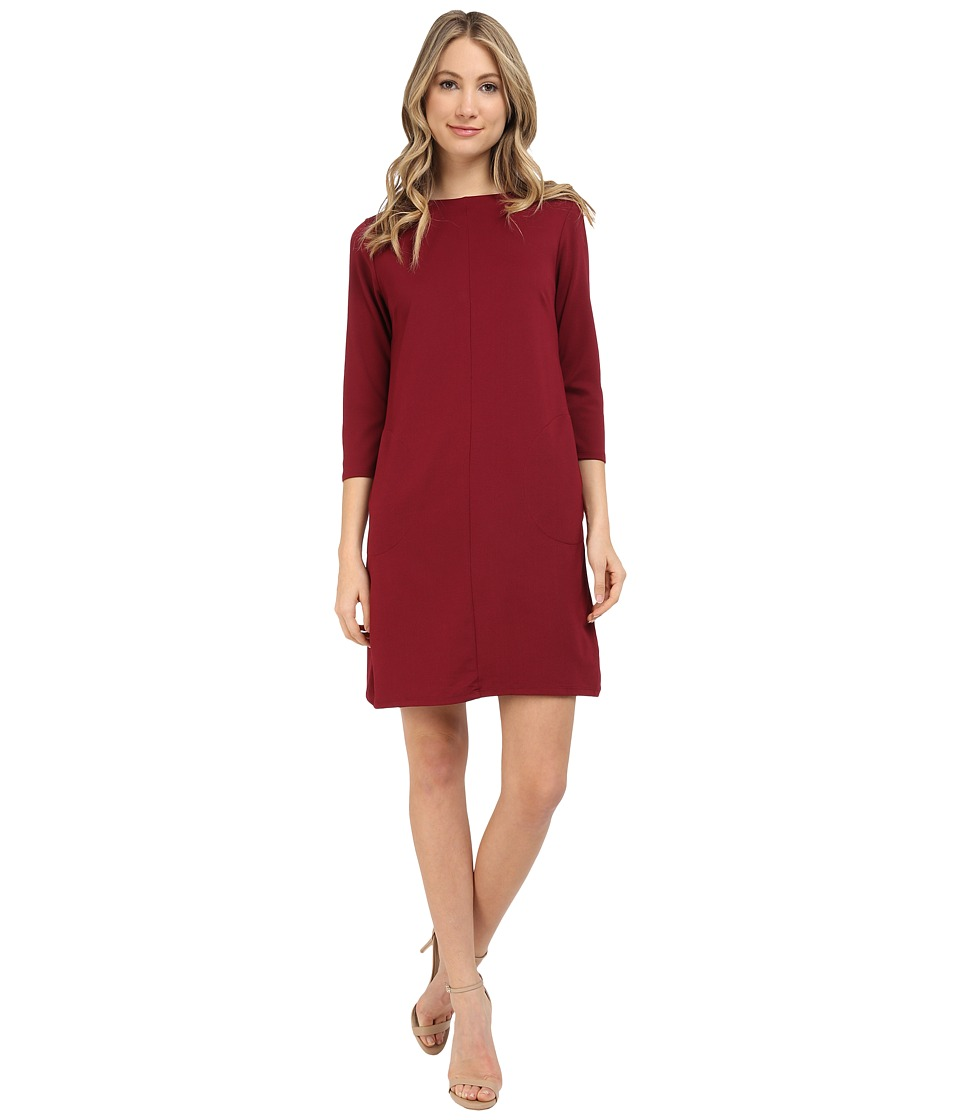 Brigitte Bailey - Calin 3/4 Sleeve Dress with Pockets (Wine) Women's Dress