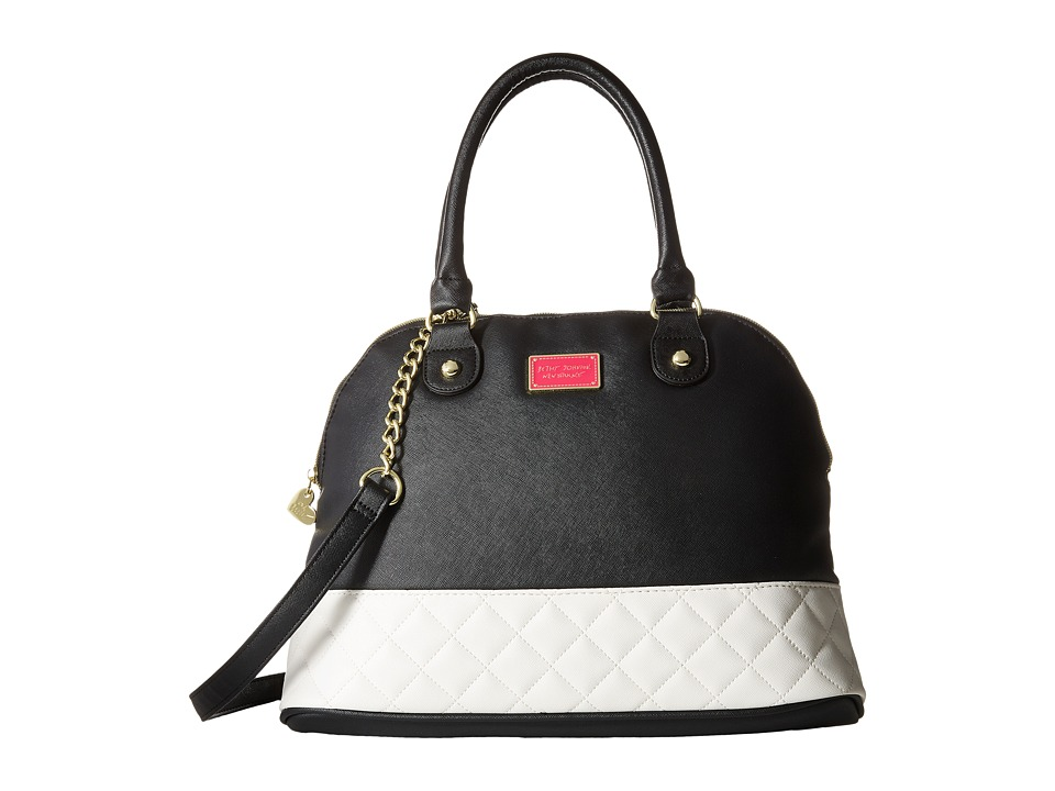 Betsey Johnson - Scarf Dome Satchel (Black/Bone) Satchel Handbags