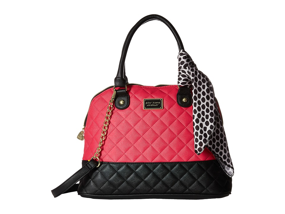 Betsey Johnson - Scarf Dome Satchel (Fuchsia/Black) Satchel Handbags