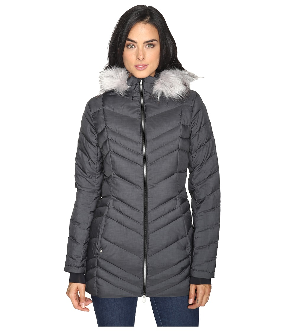 Spyder - Timeless Long Faux Fur Down Jacket (Black) Women's Coat