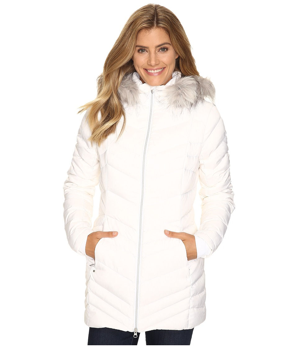 Spyder - Timeless Long Faux Fur Down Jacket (White) Women's Coat