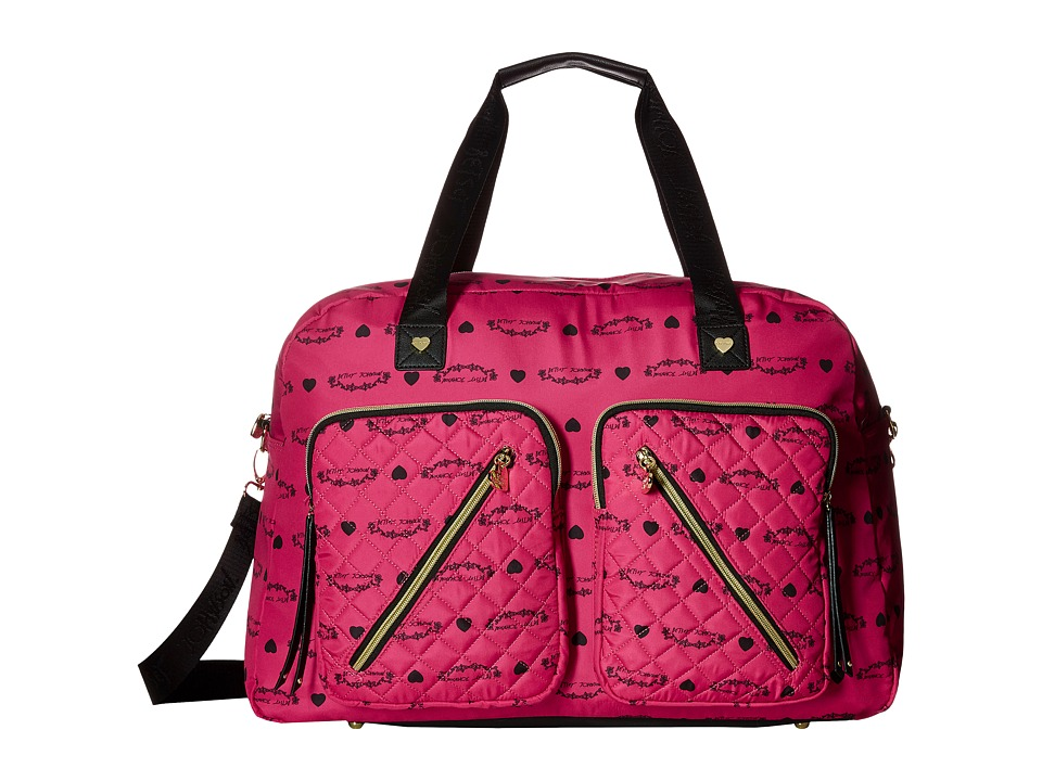 Betsey Johnson - Neverland Floral Cargo Weekender (Fuchsia) Weekender/Overnight Luggage