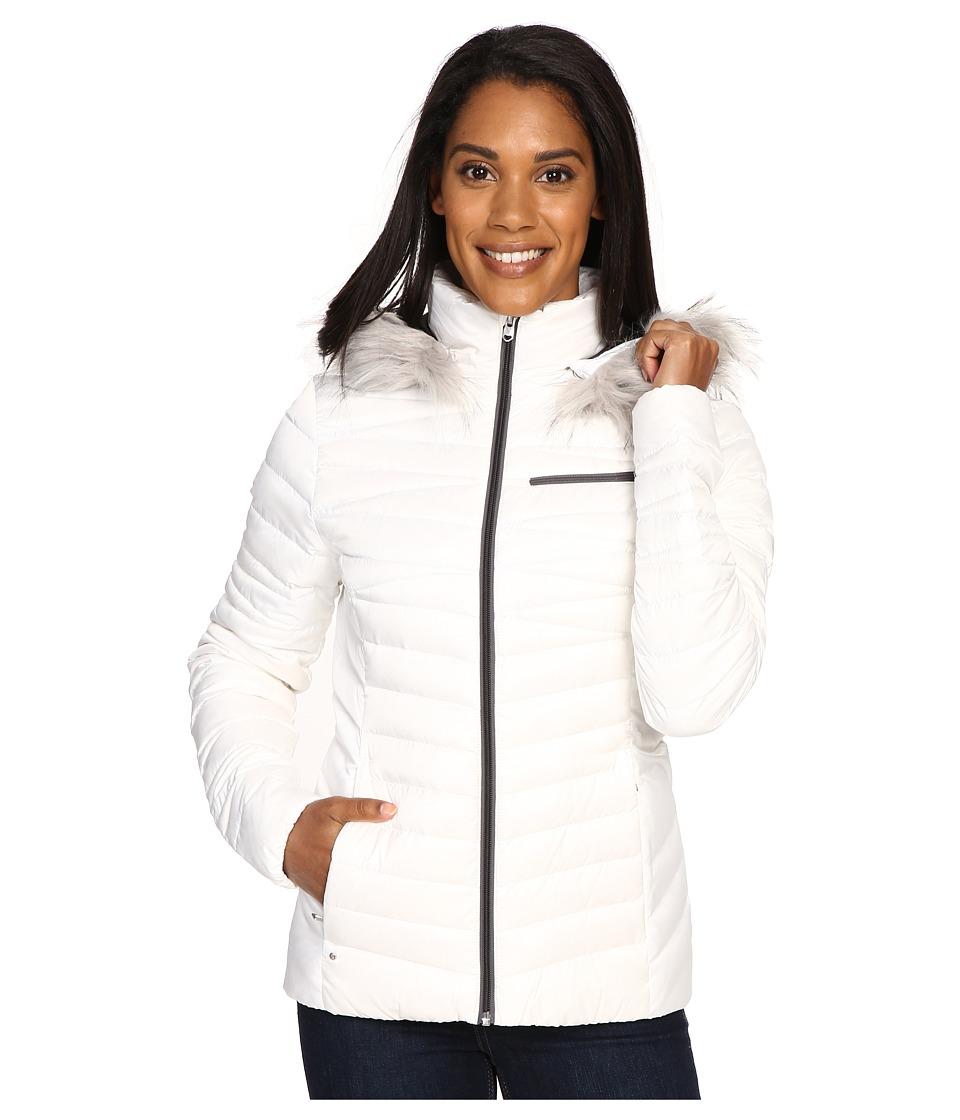 Spyder - Timeless Hoodie Faux Fur Down Jacket (White/Weld) Women's Coat