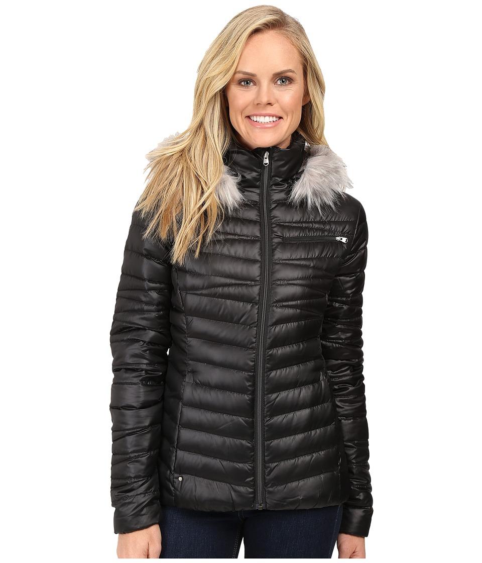 Spyder - Timeless Hoodie Faux Fur Down Jacket (Black/Weld) Women's Coat