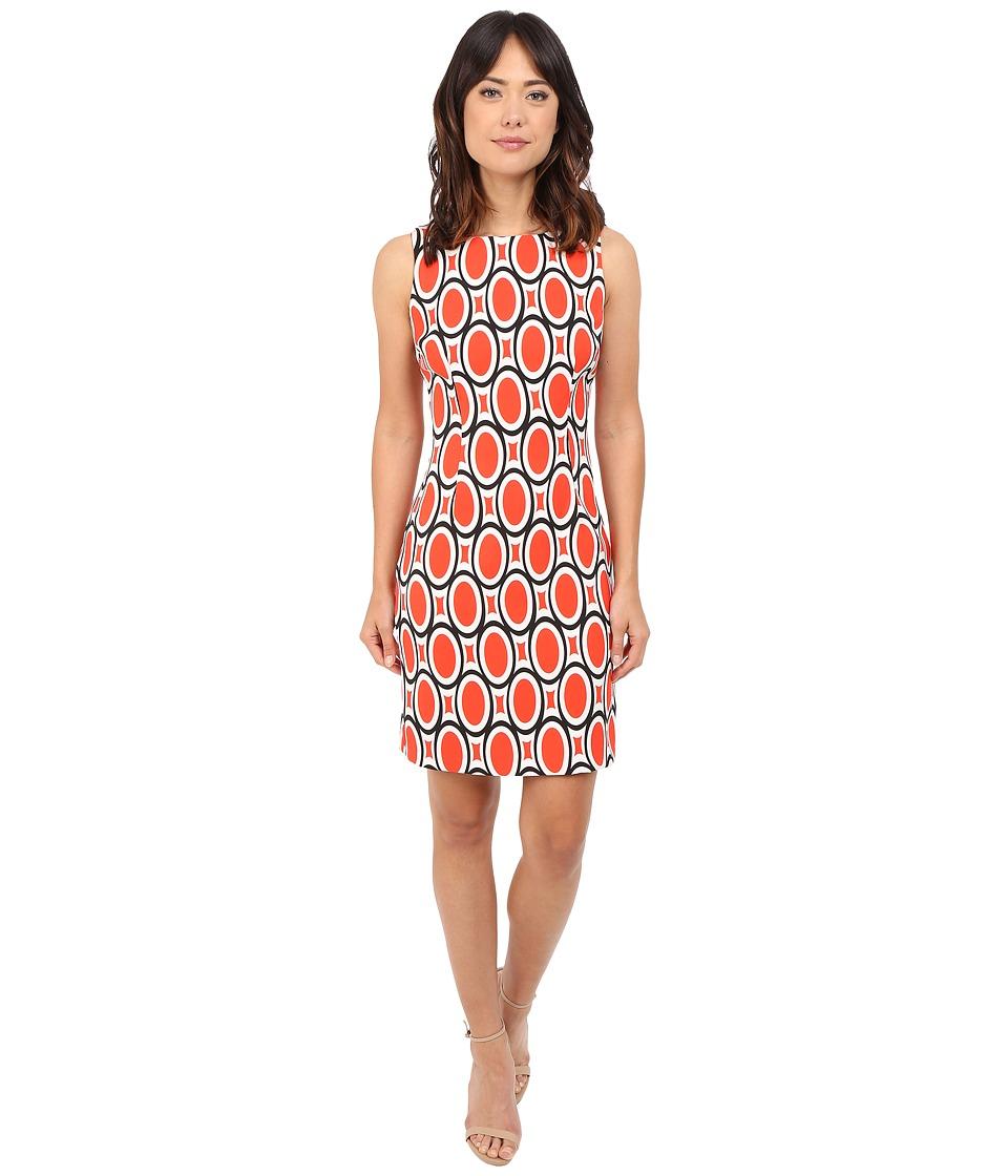 Christin Michaels Imogen Twill Sheath Dress (Orange/White) Women