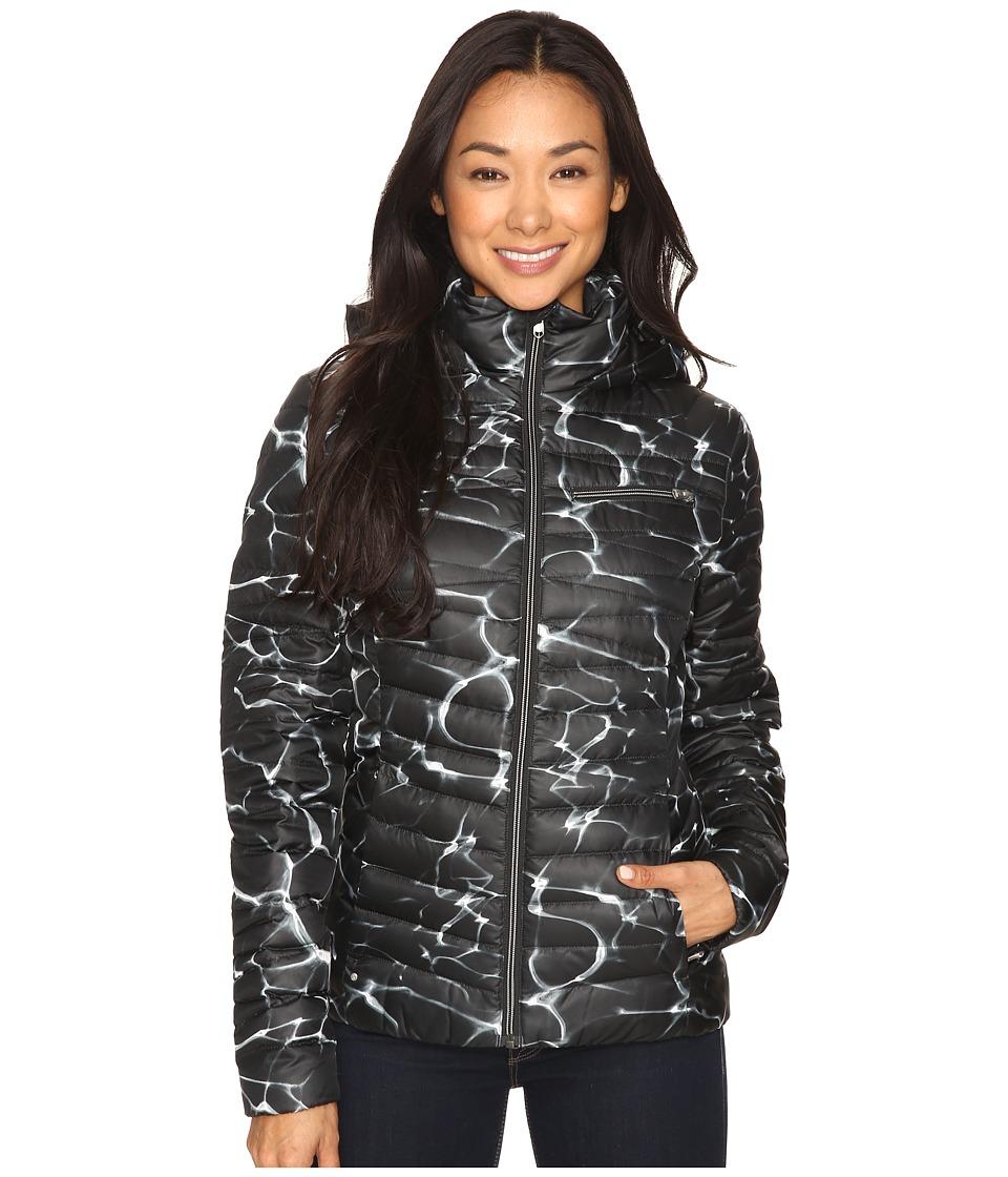Spyder - Timeless Hoodie Down Jacket (Waves Black/Black) Women's Coat