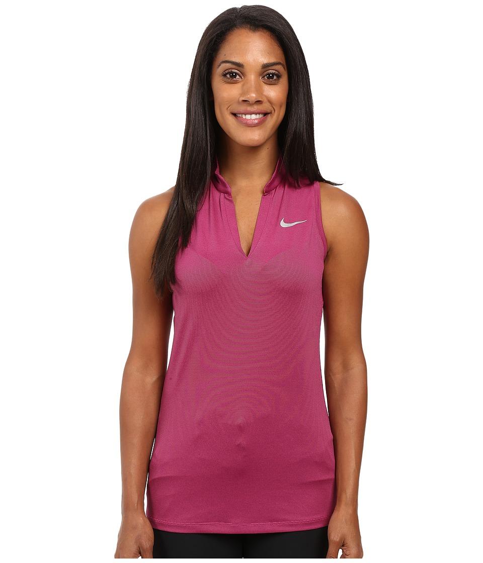 Nike Golf - Ace Swing Knit Racerback (Vivid Pink/Black/Reflective Silver) Women's Sleeveless