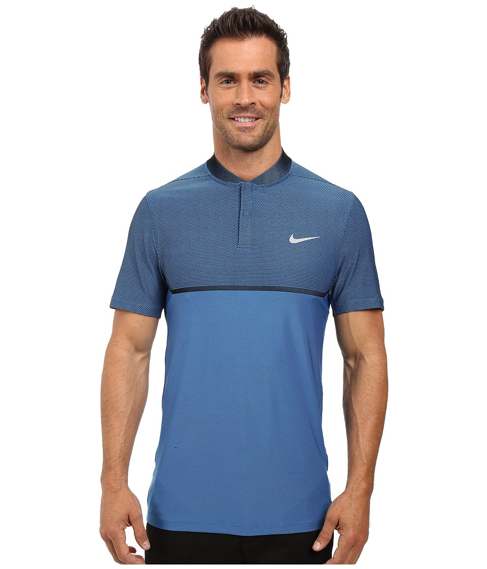 Nike Golf - Momentum Fly Swing Knit Block Alpha (Light Photo Blue/Black/Reflect Black) Men's Short Sleeve Pullover