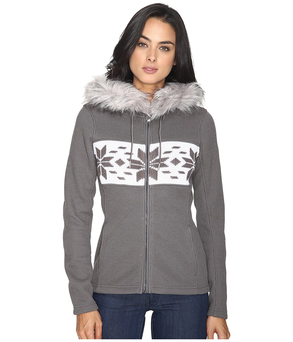 Spyder - Soiree Hoodie Faux Fur Mid Weight Core Sweater (Weld/White) Women's Sweater
