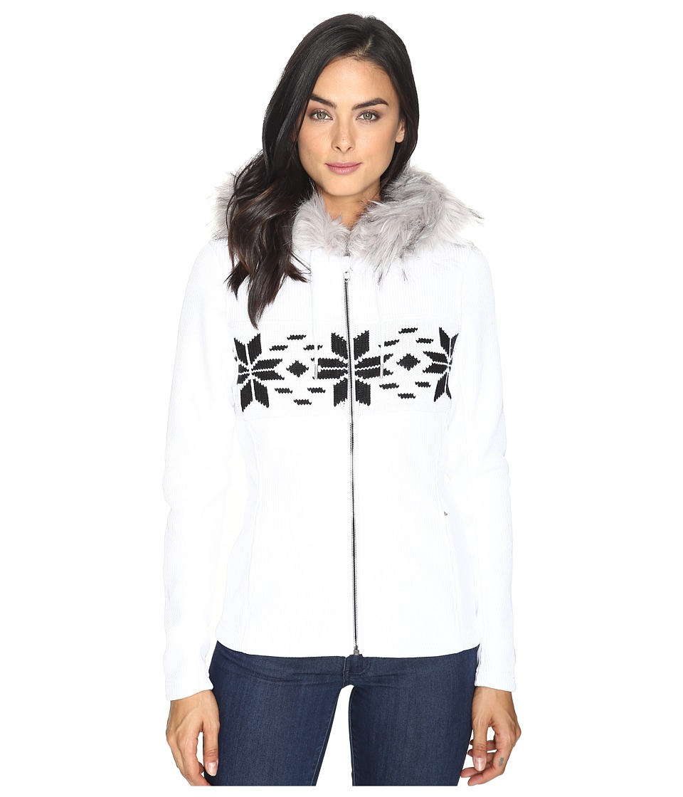 Spyder - Soiree Hoodie Faux Fur Mid Weight Core Sweater (White/Black) Women's Sweater