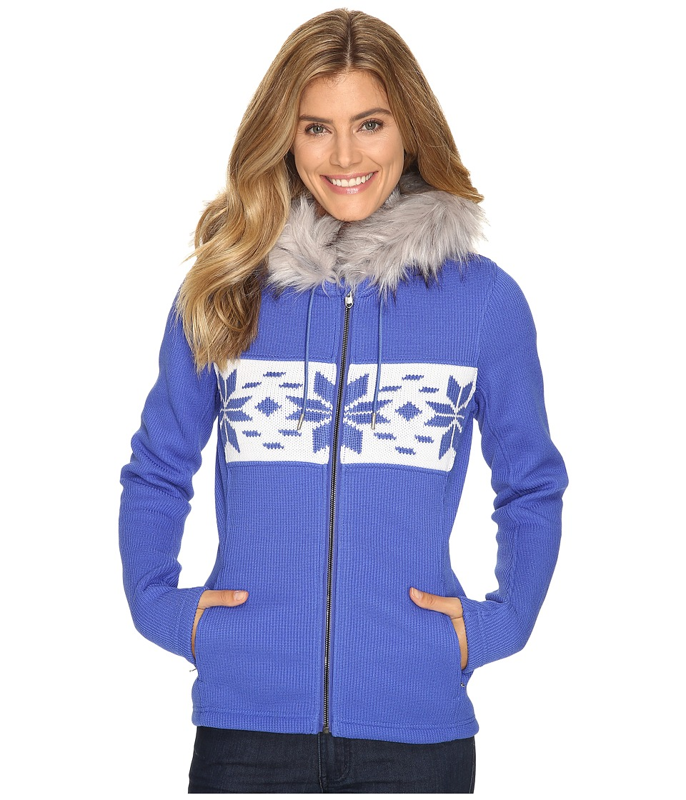 Spyder - Soiree Hoodie Faux Fur Mid Weight Core Sweater (Bling/White) Women's Sweater