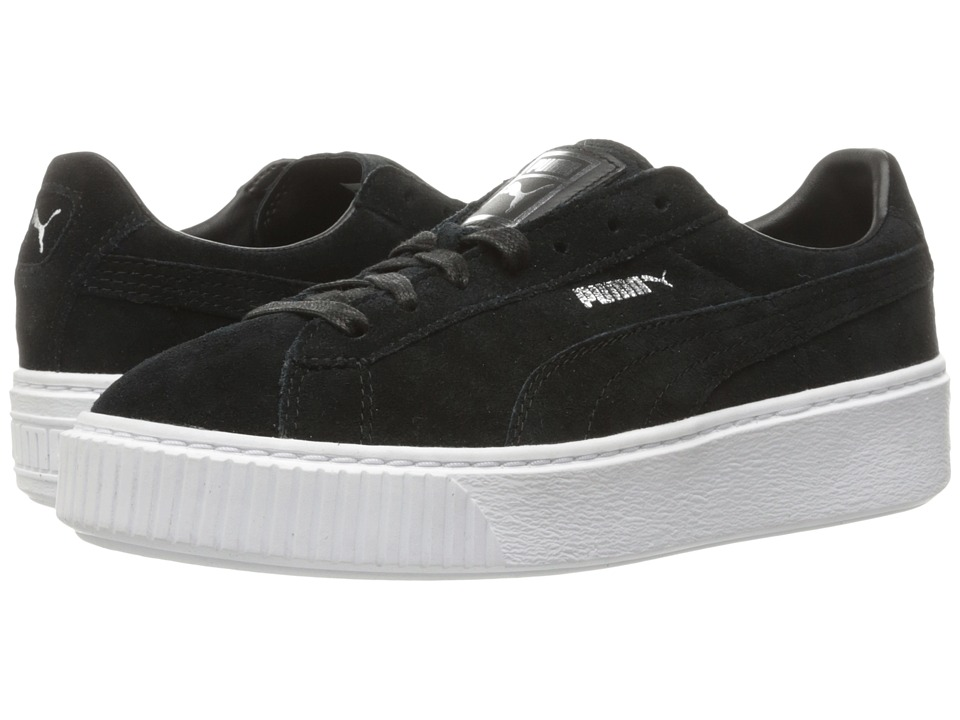 PUMA - Suede Platform Core (Puma Black/Puma Black/Puma White) Women's Shoes