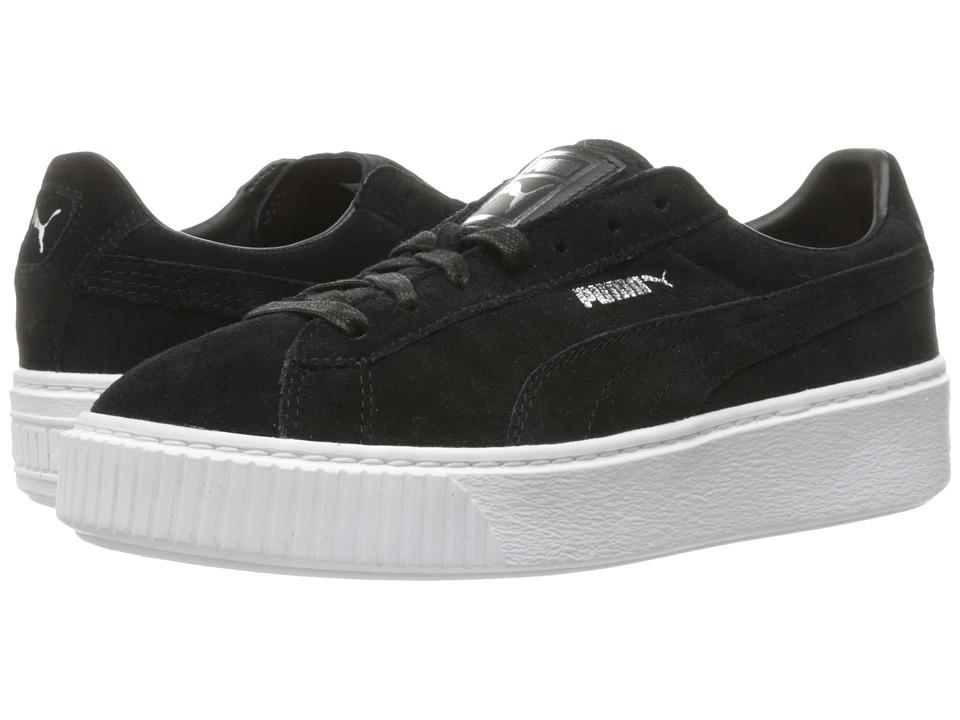 PUMA - Suede Platform Core (Puma Black/Puma Black/Puma White) Women's Shoes