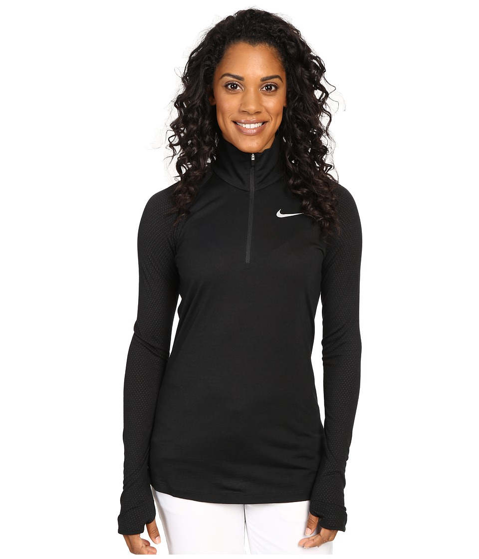 Nike Golf - 1/2 Zip Merino Long Sleeve Top (Black/Reflective Silver) Women's Clothing