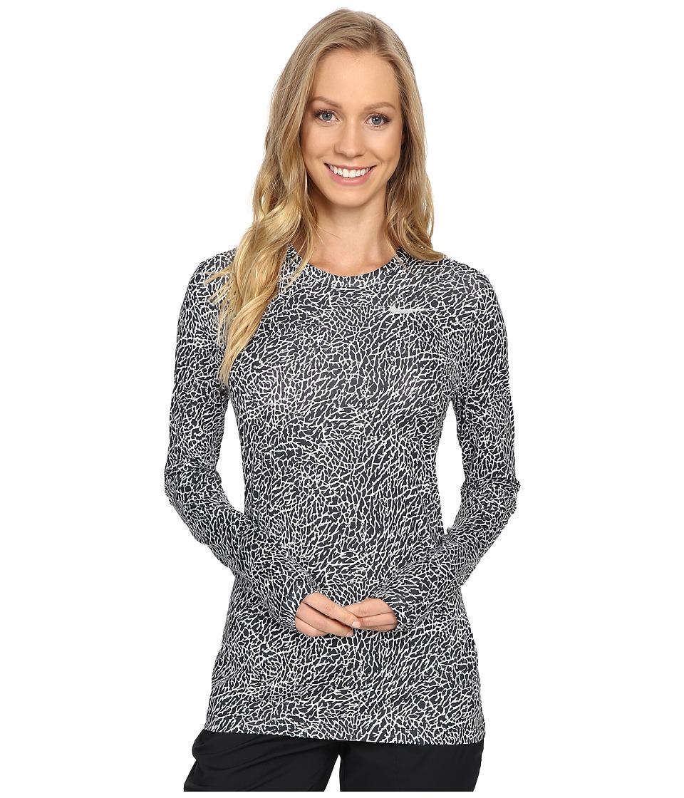 Nike Golf - Printed Base Layer Crew (Black/White/Metallic Silver) Women's Clothing