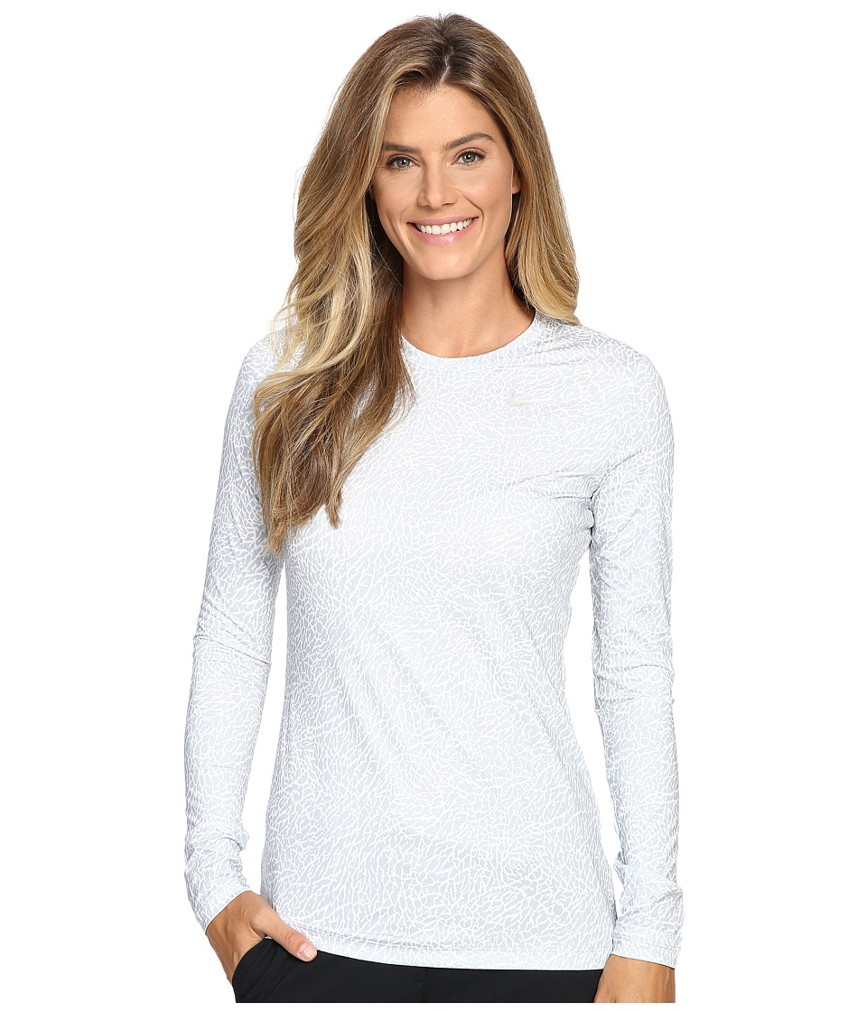 Nike Golf - Printed Base Layer Crew (Wolf Grey/White/Metallic Silver) Women's Clothing