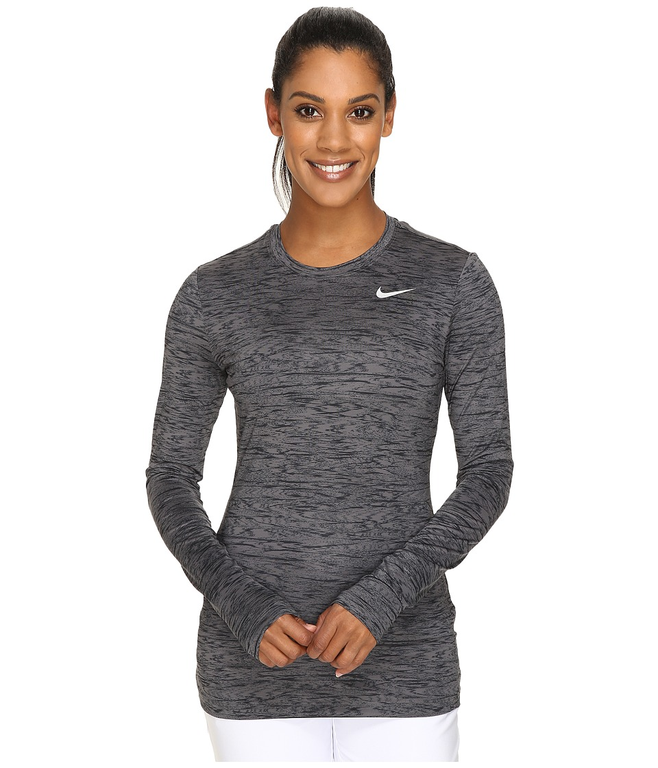 Nike Golf - Printed Base Layer Crew (Dark Grey/Black/Metallic Silver) Women's Clothing