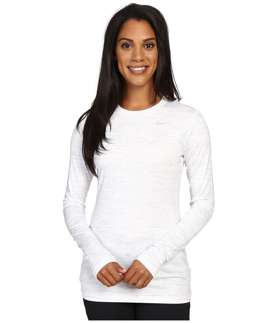 Nike Golf - Printed Base Layer Crew (White/Wolf Grey/Metallic Silver) Women's Clothing