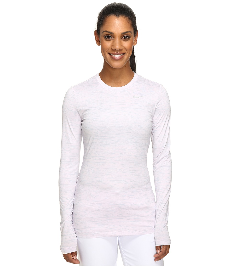 Nike Golf Printed Base Layer Crew (Bleached Lilac/Wolf Grey/Metallic Silver) Women
