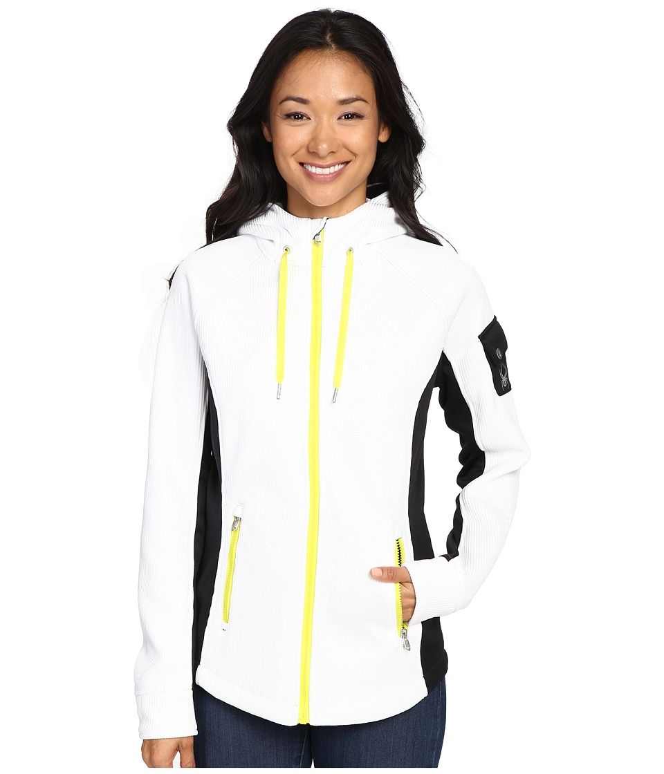 Spyder Ardent Full Zip Hoodie Mid Weight Core Sweater (White/Black/Acid) Women