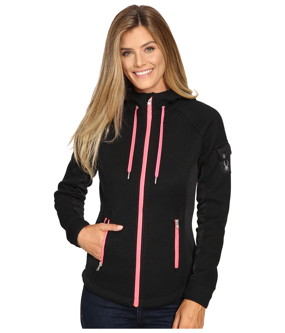 Spyder Ardent Full Zip Hoodie Mid Weight Core Sweater (Black/Weld/Bryte Pink) Women