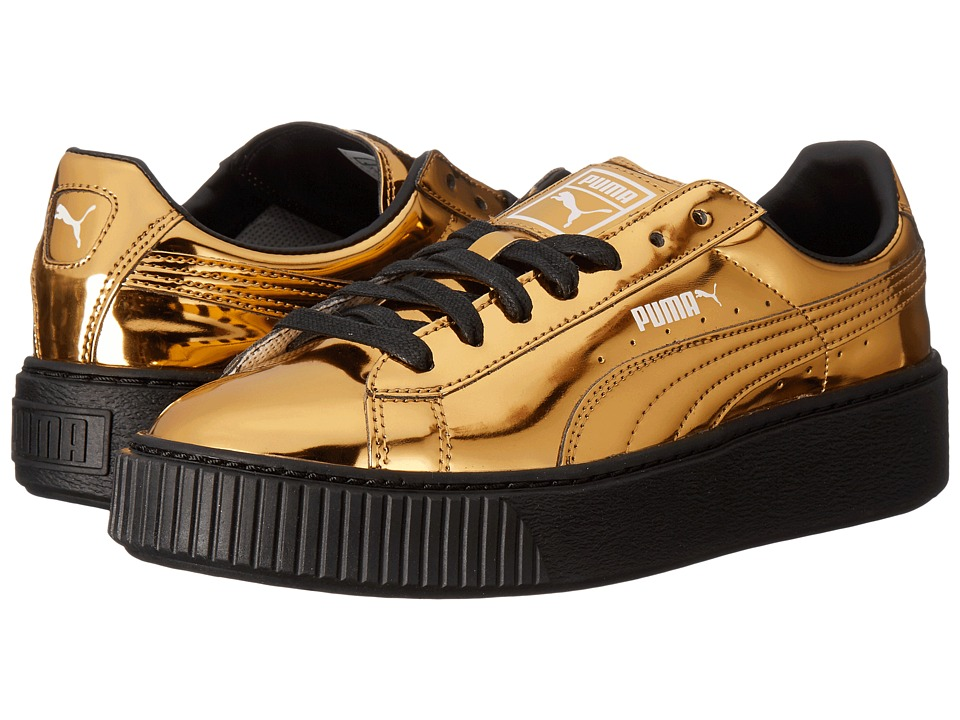 PUMA Basket Platform Metallic (Gold/Gold/Puma Black) Women
