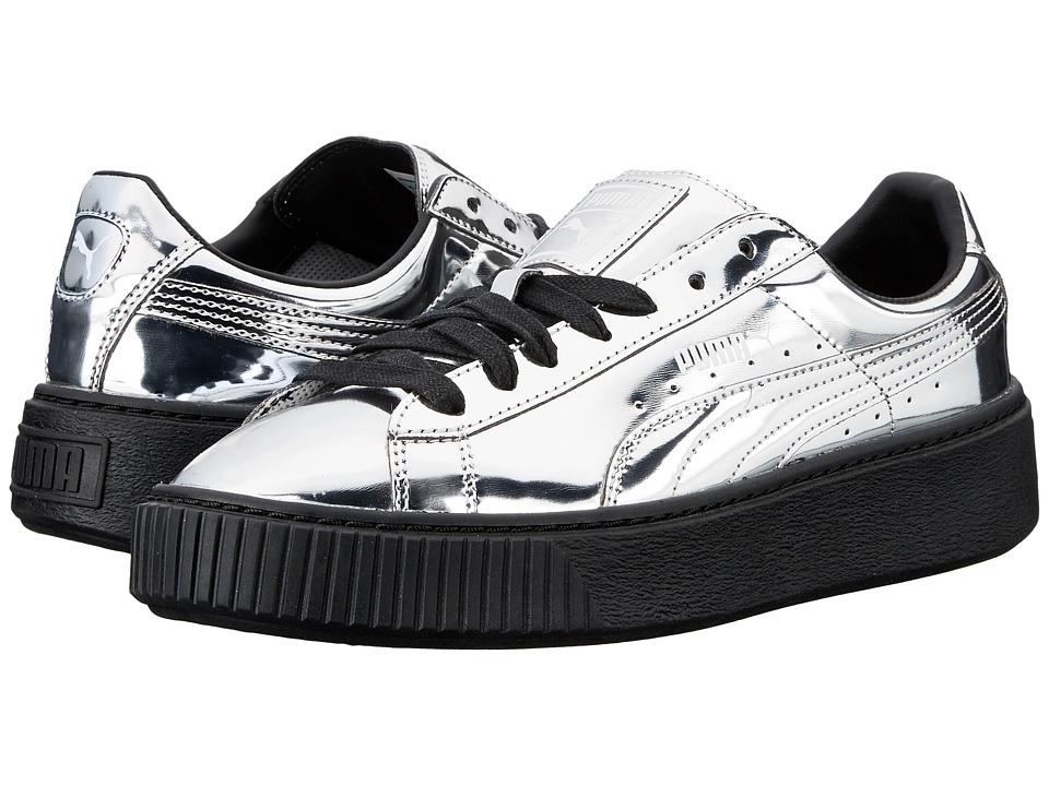 PUMA - Basket Platform Metallic (Silver/Silver/Puma Black) Women's Basketball Shoes