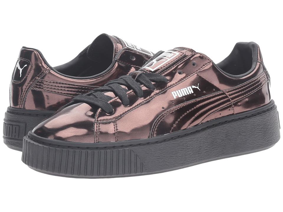 PUMA - Basket Platform Metallic (Puma Black/Puma Black/Puma Black) Women's Basketball Shoes