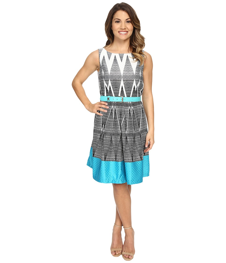 Tahari by ASL Petite - Petite Darryl-Q Belt Dress (Turquoise) Women's Dress
