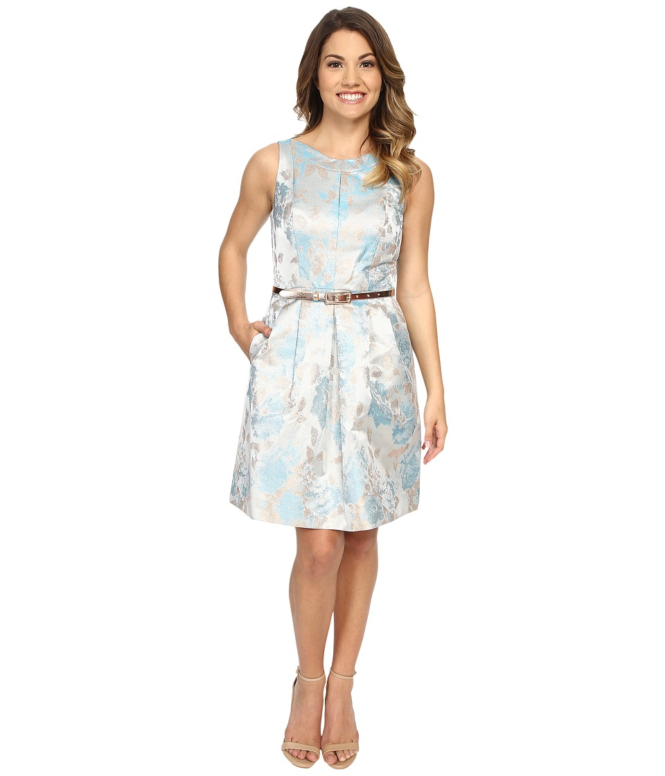 Tahari by ASL Petite - Petite Joshua-Z Belt Dress (Sky Blue/Gold) Women's Dress