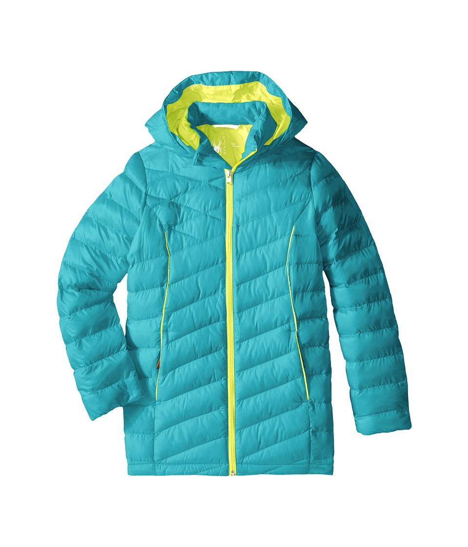 Spyder Kids - Timeless Long Synthetic Down Jacket (Little Kids/Big Kids) (Bluebird/Acid) Girl's Coat