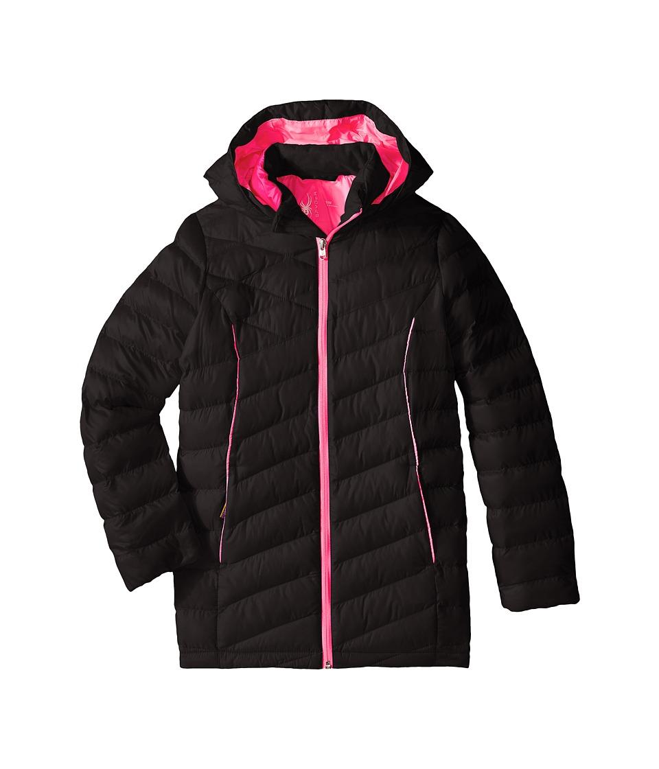 Spyder Kids - Timeless Long Synthetic Down Jacket (Little Kids/Big Kids) (Black/Bryte Bubblegum) Girl's Coat