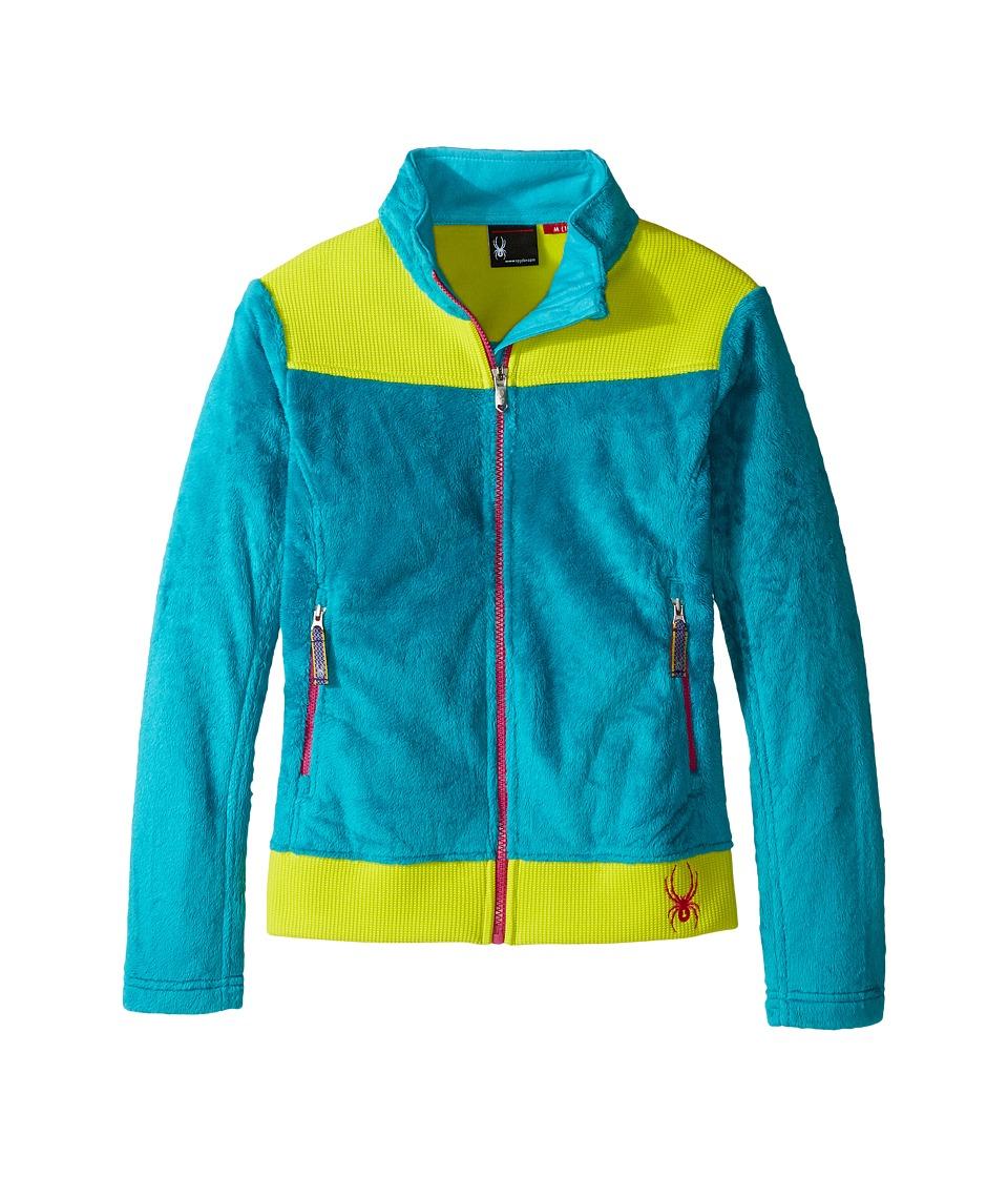 Spyder Kids - Caliper Stryke Hybrid Fleece Jacket (Little Kids/Big Kids) (Bluebird/Acid/Voila) Girl's Coat