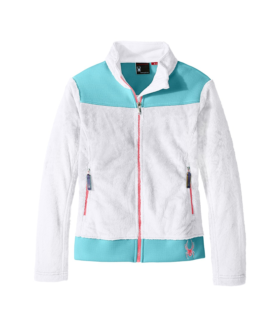 Spyder Kids - Caliper Stryke Hybrid Fleece Jacket (Little Kids/Big Kids) (White/Freeze/Bryte Bubblegum) Girl's Coat