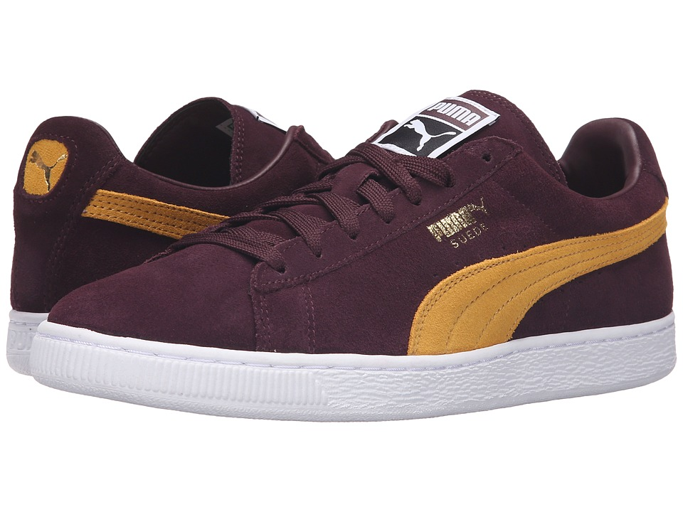 PUMA - Suede Classic+ (Winetasting/Bright Gold) Men's Shoes