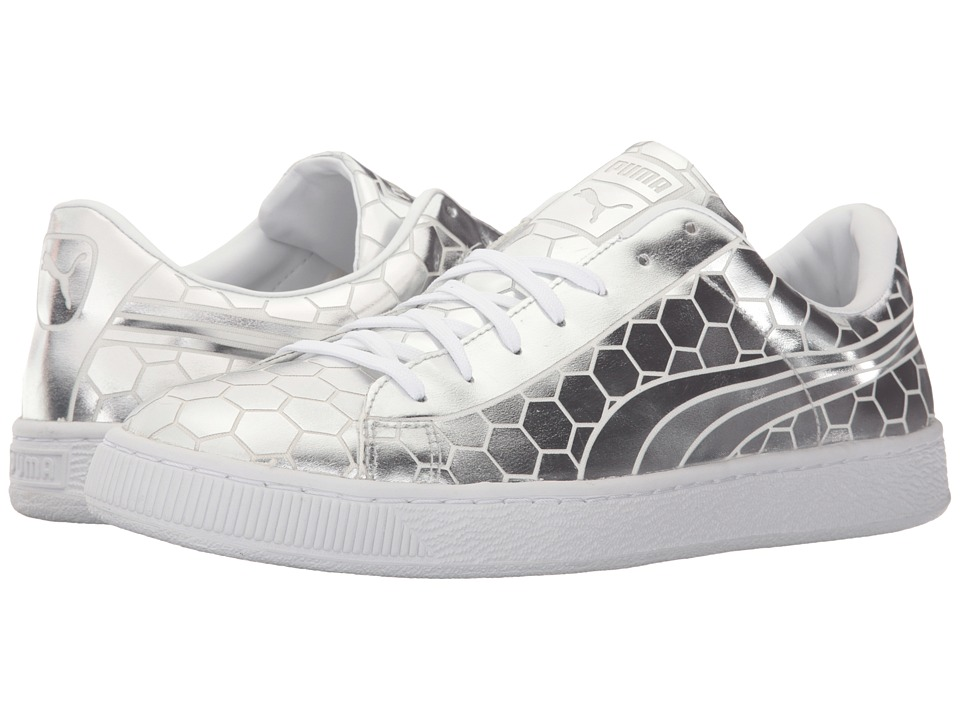 PUMA - Basket Classic Metallic (Silver) Men's Basketball Shoes