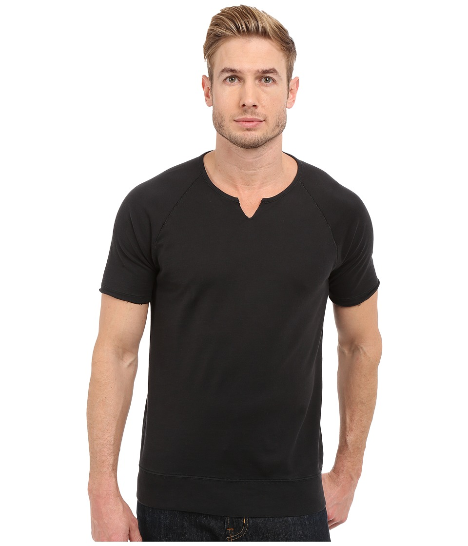 John Varvatos Star U.S.A. - Short Sleeve Raglan Knit Sweatshirt with Slit Neck K2235S1B (Black) Men's Sweatshirt
