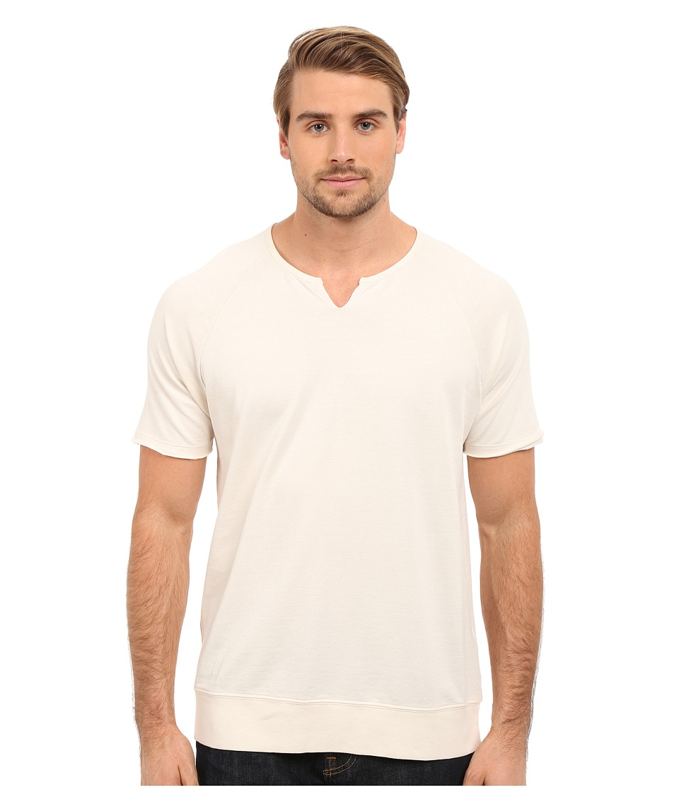 John Varvatos Star U.S.A. - Short Sleeve Raglan Knit Sweatshirt with Slit Neck K2235S1B (Bone White) Men's Sweatshirt