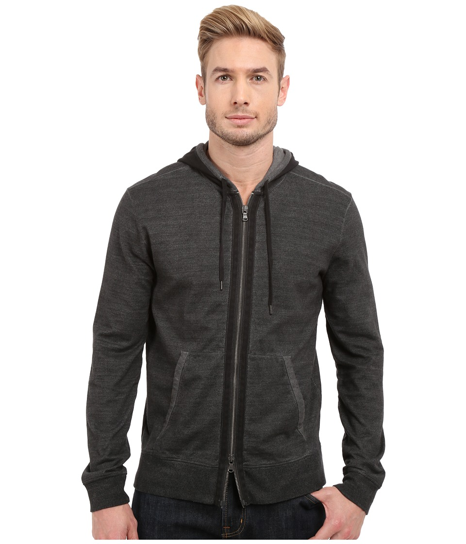 John Varvatos Star U.S.A. - Long Sleeve Zip Front Knit Hoodie K2627S1B (Pewter) Men's Sweatshirt