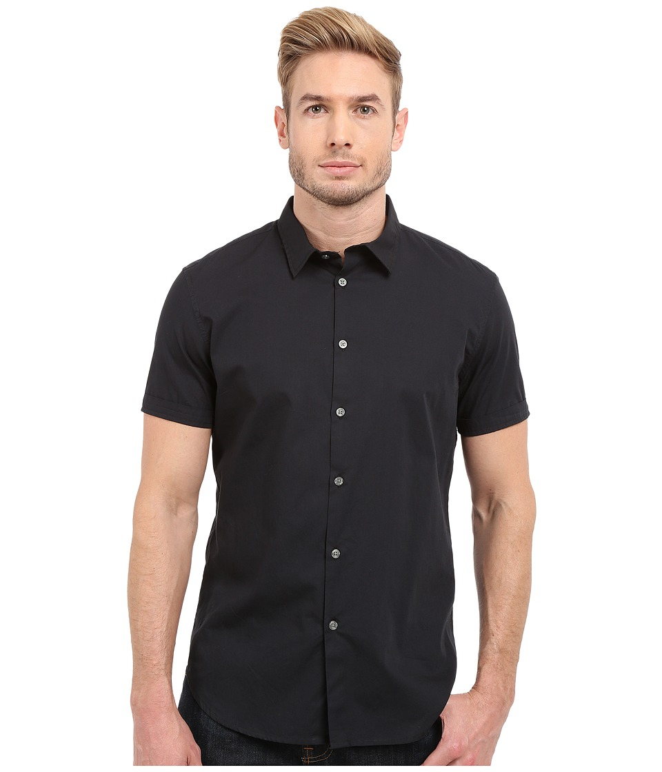 John Varvatos Star U.S.A. - Short Sleeve Solid Shirt W443S1B (Black) Men's Clothing
