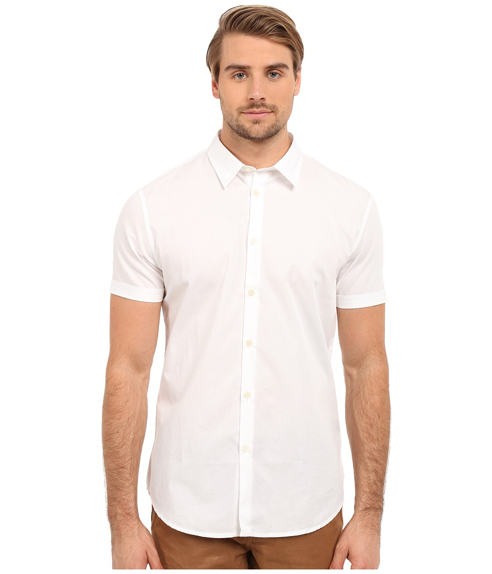 John Varvatos Star U.S.A. - Short Sleeve Solid Shirt W443S1B (White) Men's Clothing
