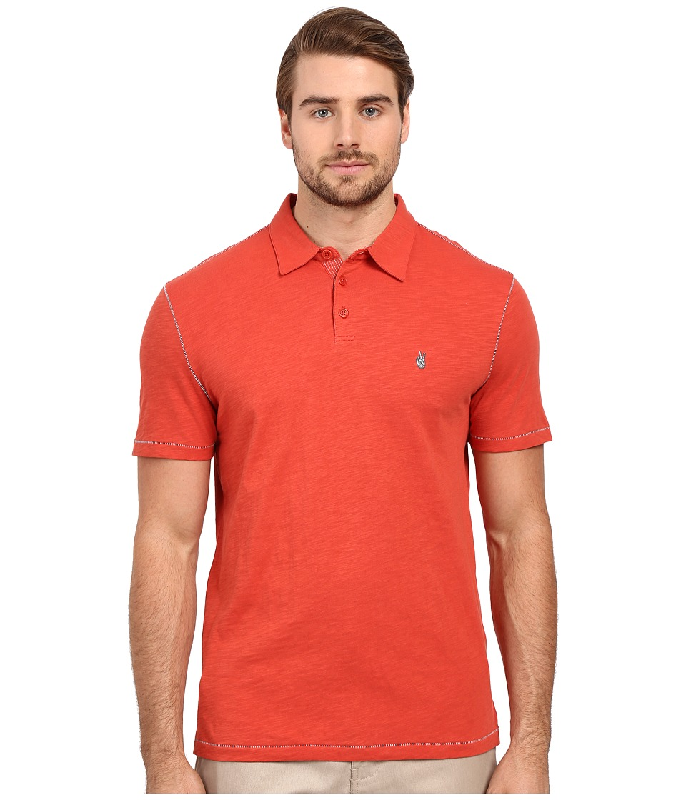 John Varvatos Star U.S.A. - Soft Collar Peace Polo K1381S1B (Brick Red) Men's Short Sleeve Pullover