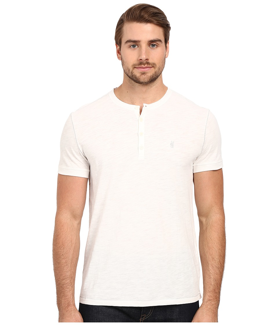 John Varvatos Star U.S.A. - Short Sleeve Peace Henley K2521S1B (Salt) Men's Clothing