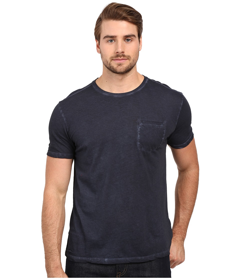 John Varvatos Star U.S.A. - Short Sleeve Knit Crew Neck w/ Chest Pocket K2615S1B (Dark Navy) Men's Clothing