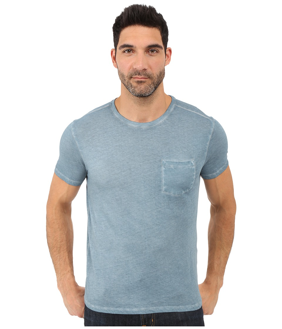 John Varvatos Star U.S.A. - Short Sleeve Knit Crew Neck w/ Chest Pocket K2615S1B (Ocean Blue) Men's Clothing